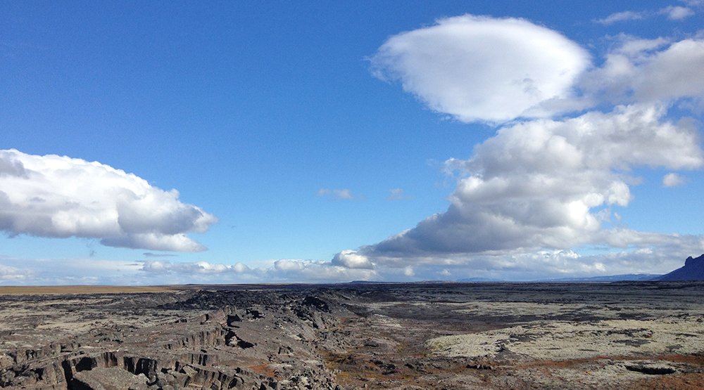 Lavafield under blue sky